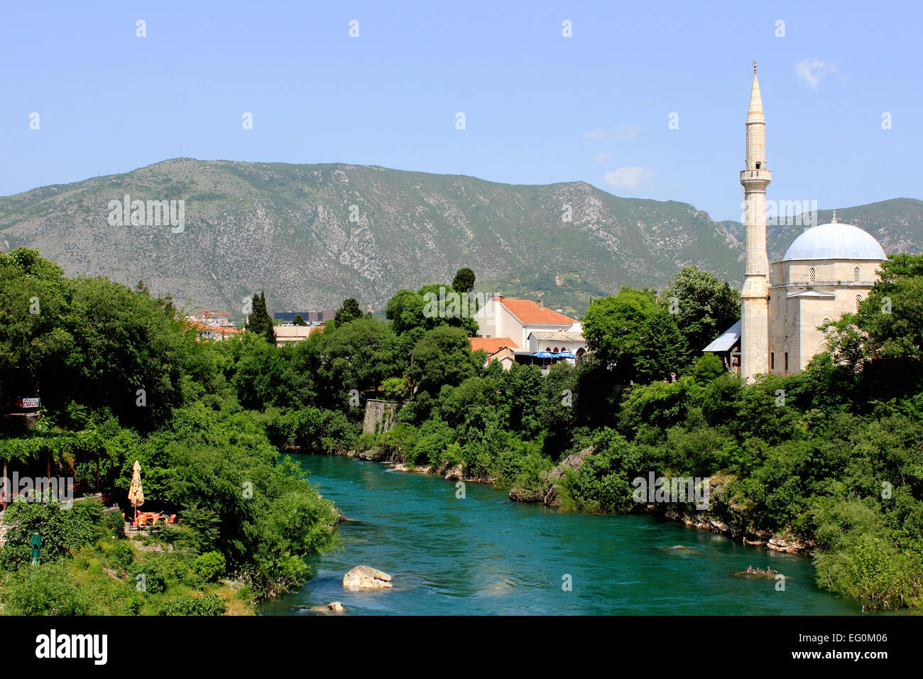 Bosnia and Herzegovina, Mostar, View of old town - Stock Image