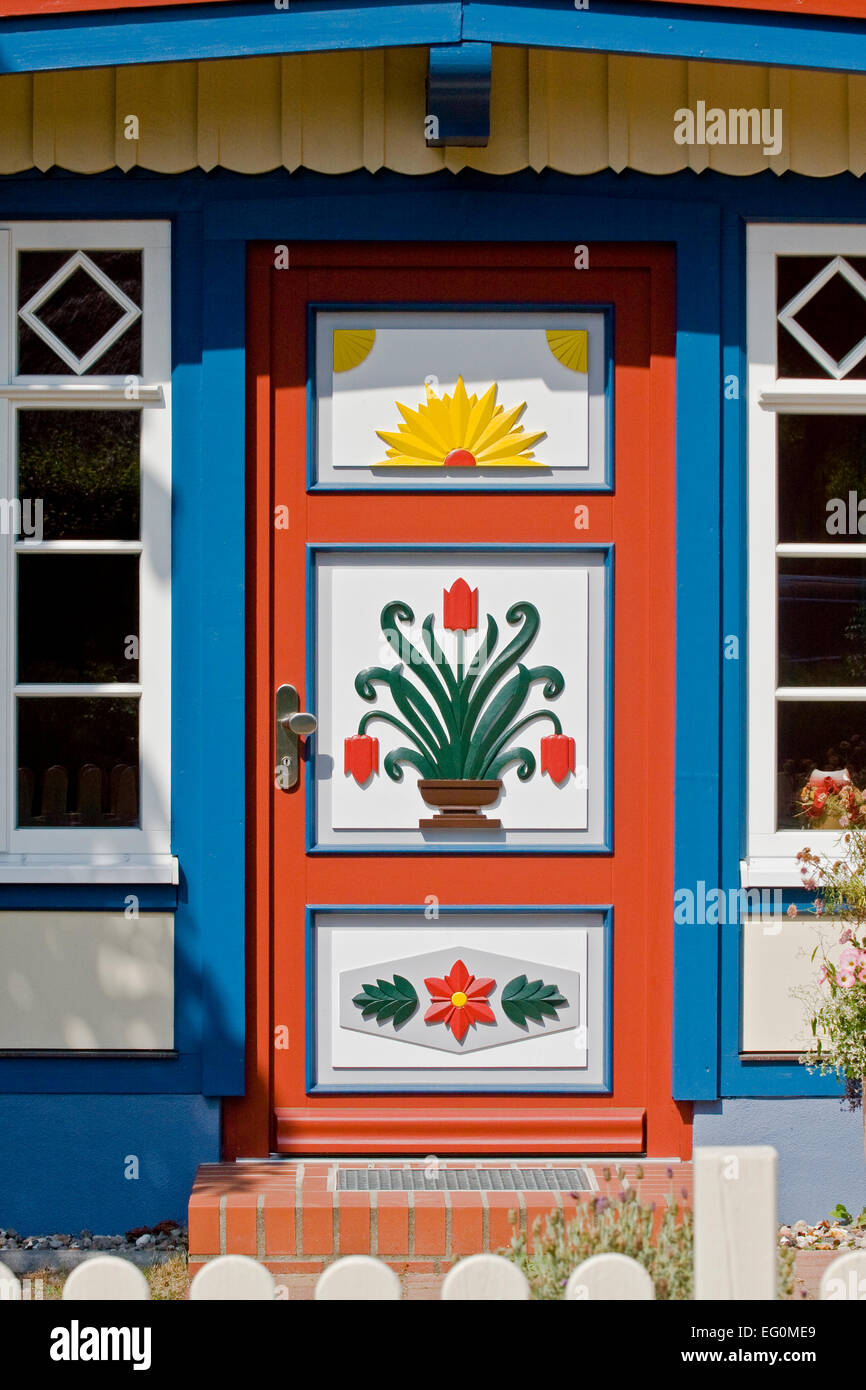 Entrance door on a typical house in Ahren shop on the island Darß Stock Photo