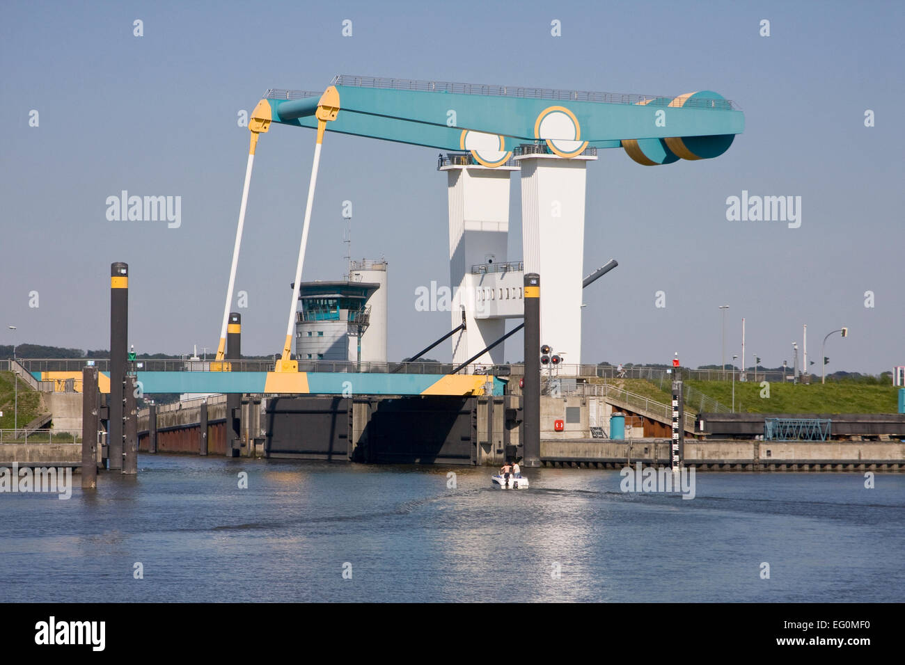 Bascule bridge in Estesperrwerk at the Este, Cranz, Altes Land, Hamburg, Lower Saxony, Germany, Europe - Stock Image