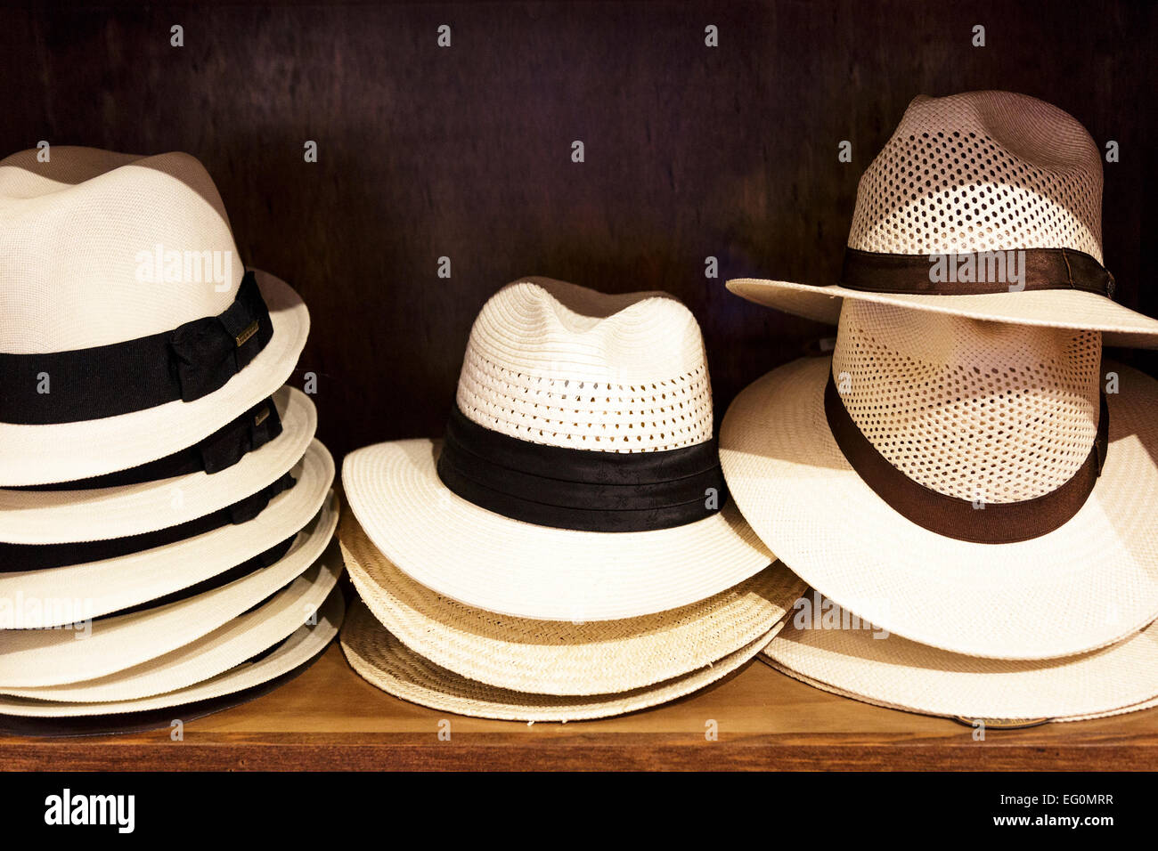 Selection of gent s straw summer hats for sale Stock Photo  78692315 ... 62b7169b22b