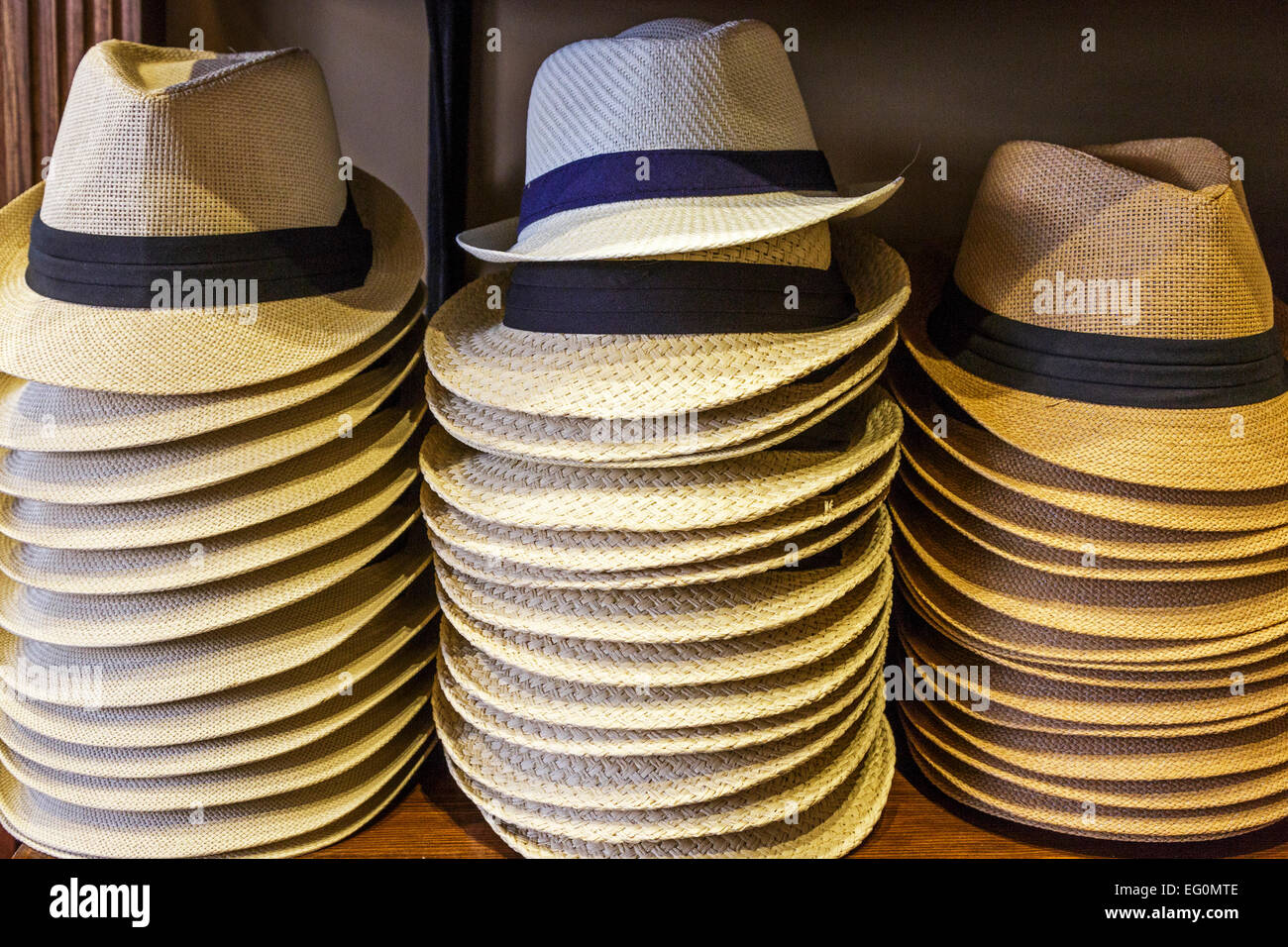 Selection of gent s straw summer hats for sale Stock Photo  78692334 ... e077a42b98b