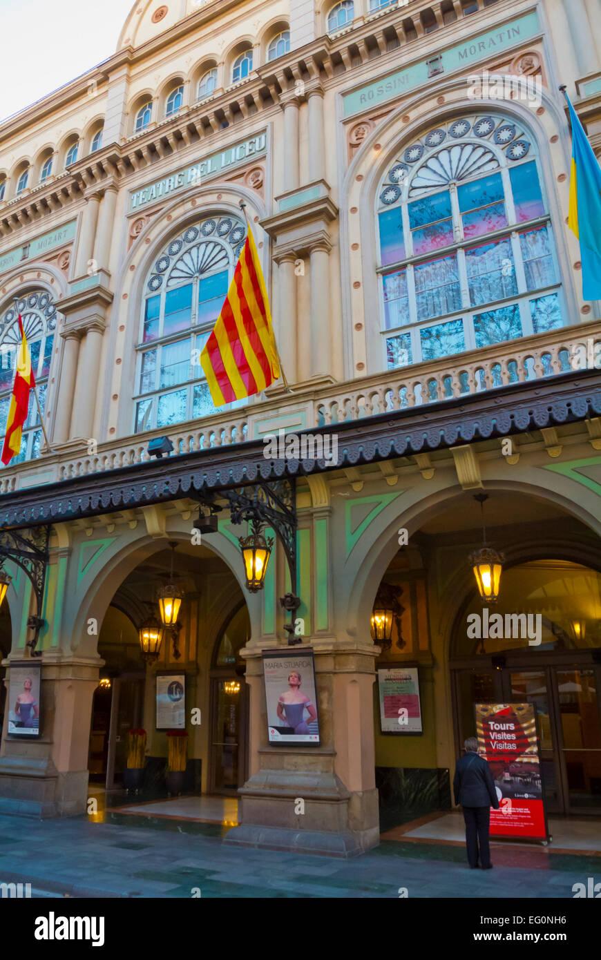 Teatre de Liceu, Ramblas, El Raval, Barcelona, Spain - Stock Image
