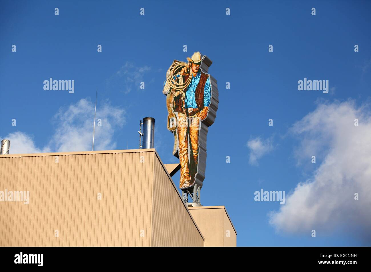 The Marlboro Man is seen on the roof of a Philip Morris tobacco plant in Berlin January 8, 2015. Photo: Wolfram - Stock Image