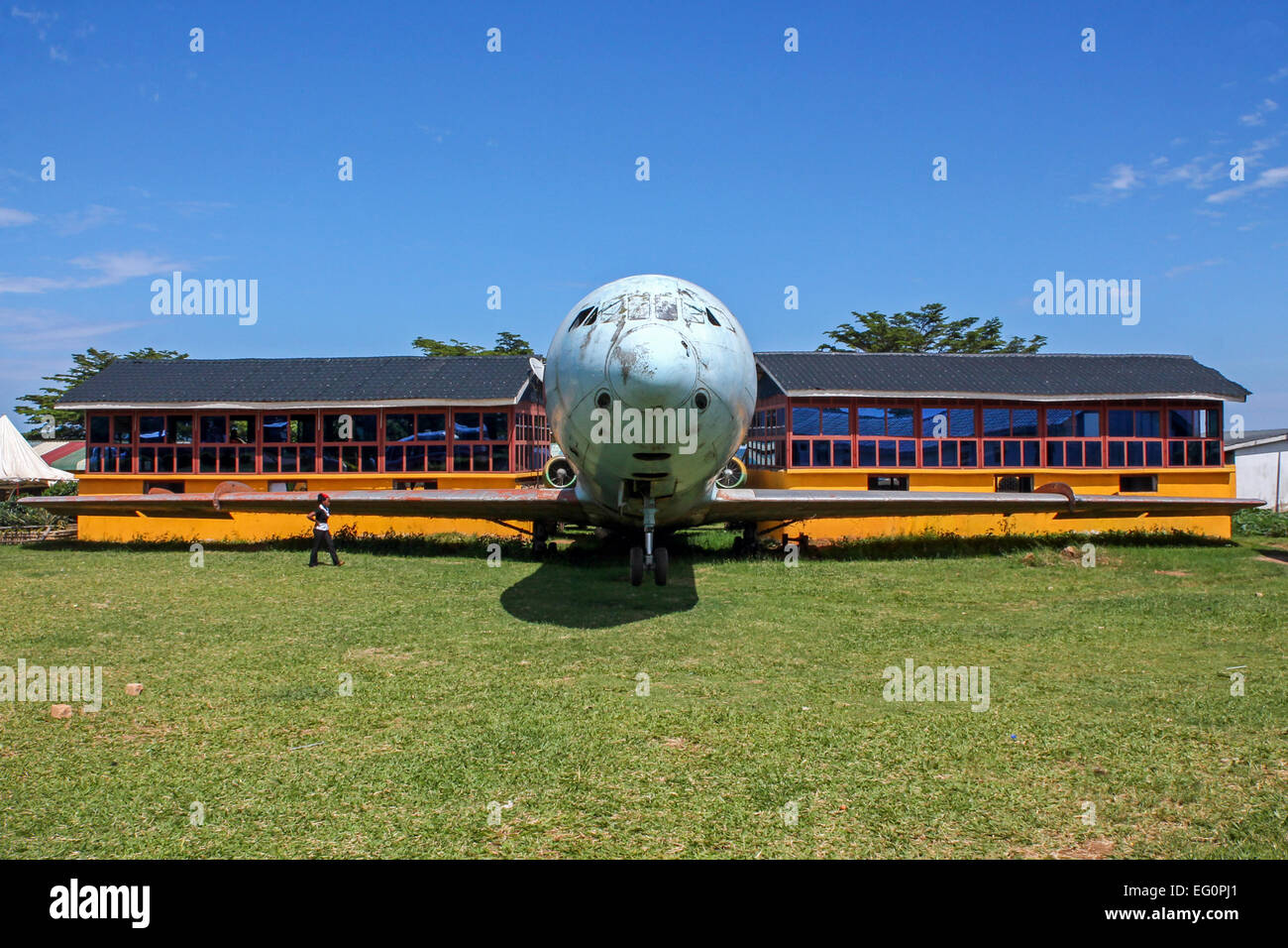 A Sud Caravelle is now one of the main attractions at Aero Beach, on the shores of Lake Victoria. - Stock Image