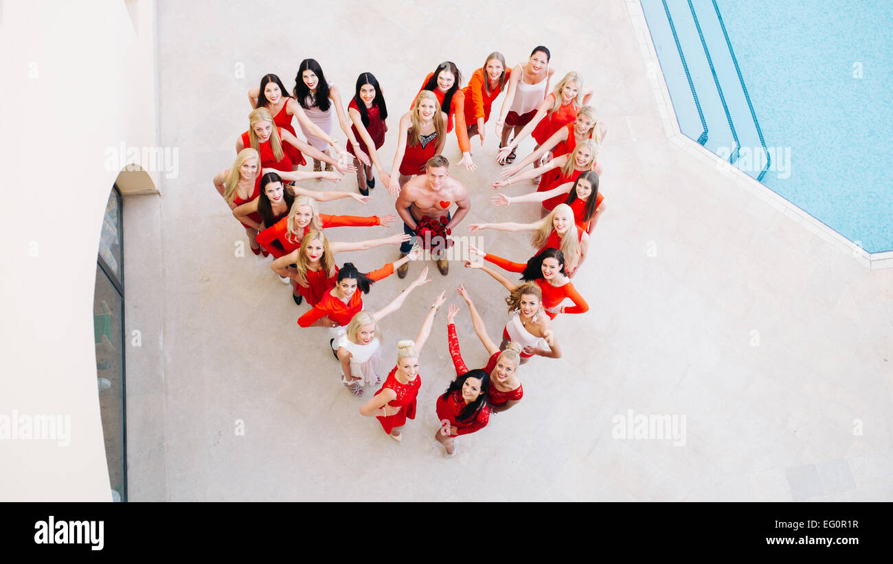 'Mister Germany 2015,' Robin Wolfinger and the 24 participants of the 'Miss Germany Camp 2015' pose - Stock Image