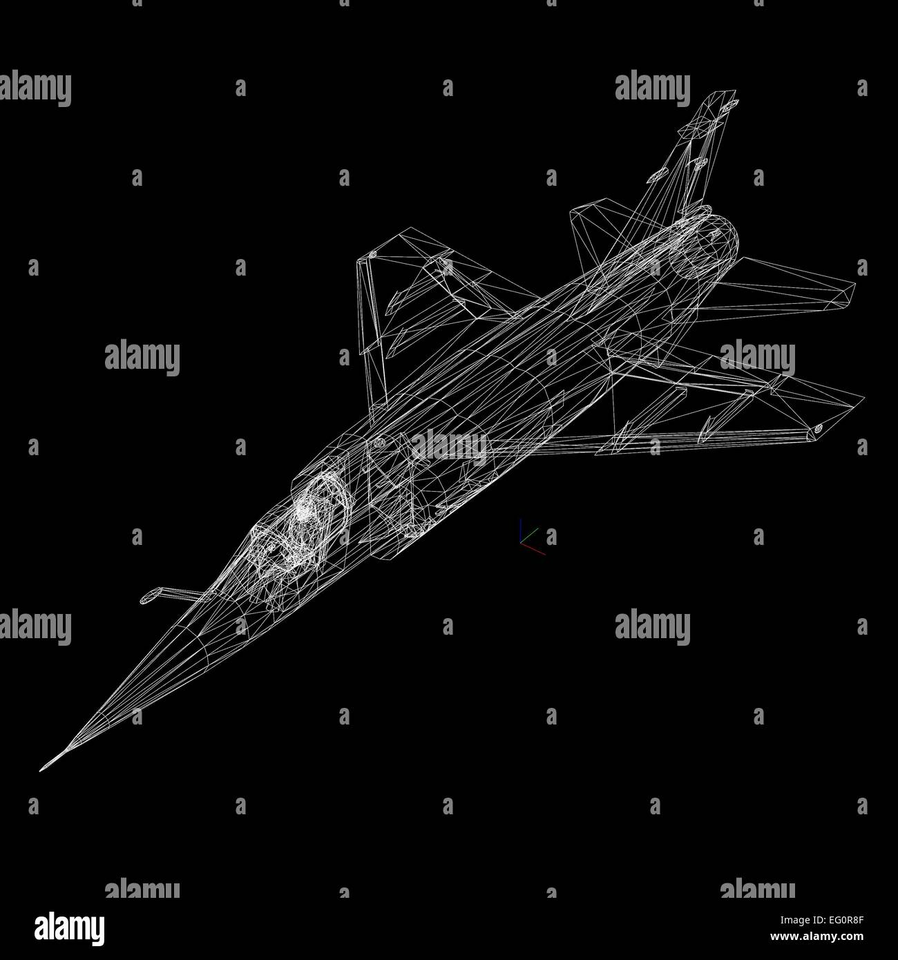3D model of airplane isolated on BLACK  background - Stock Image
