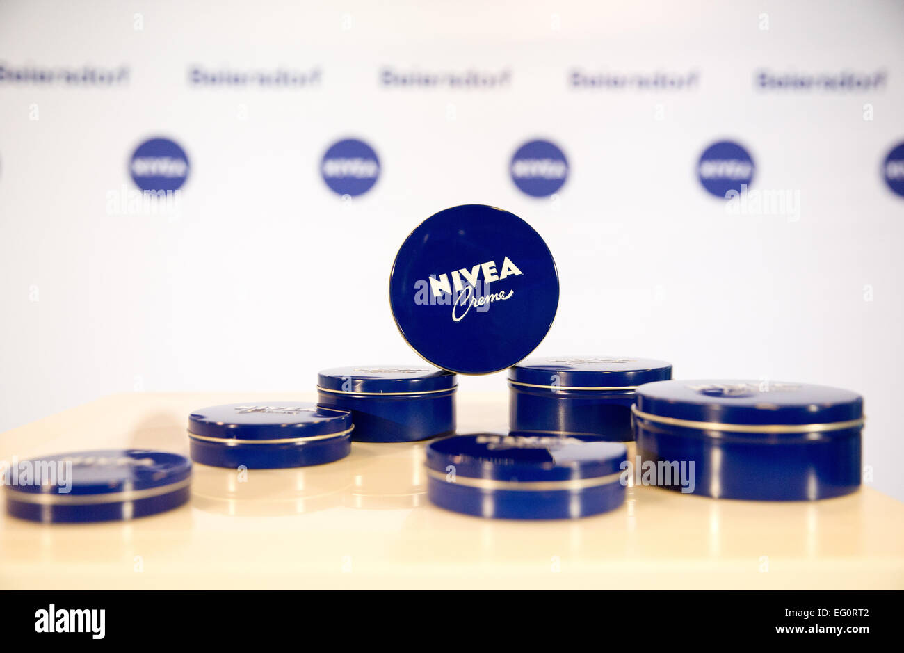 Hamburg, Germany. 13th Feb, 2015. Tins of Nivea Creme at the press conference on financial statements at the company's - Stock Image