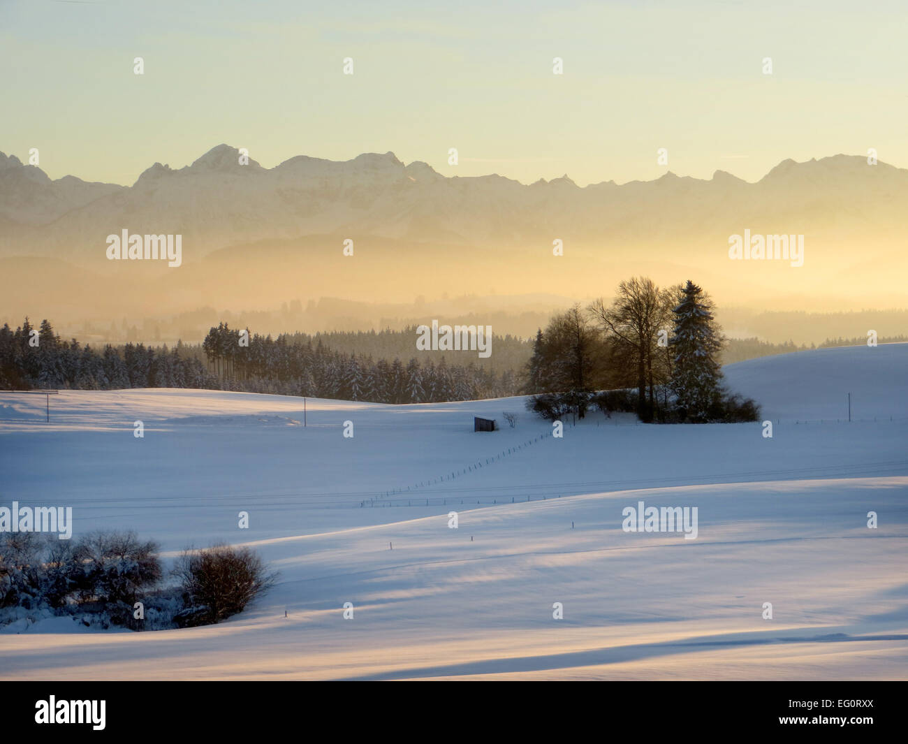 Wintertime near  Lechbruck in Bavaria viewing the Alps - Stock Image