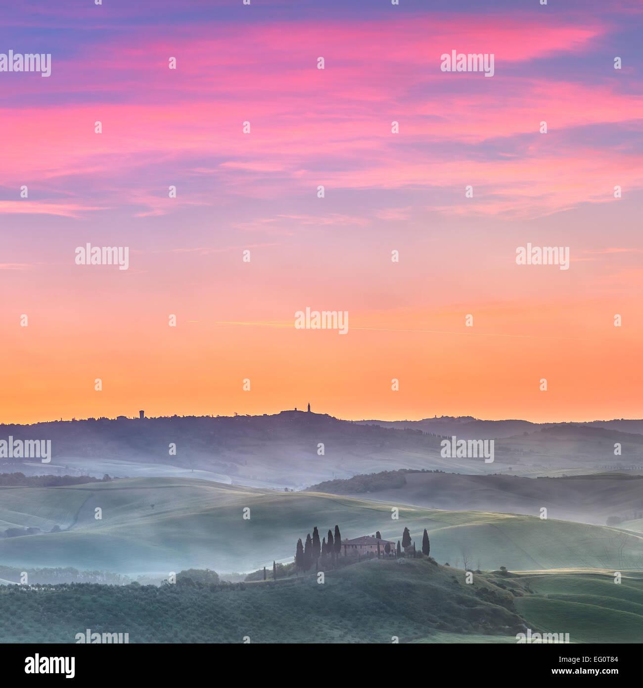 Tuscany sunrise - Stock Image