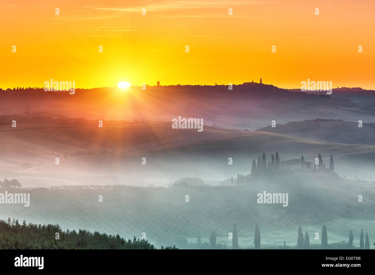 Tuscany sunrise - Stock Image