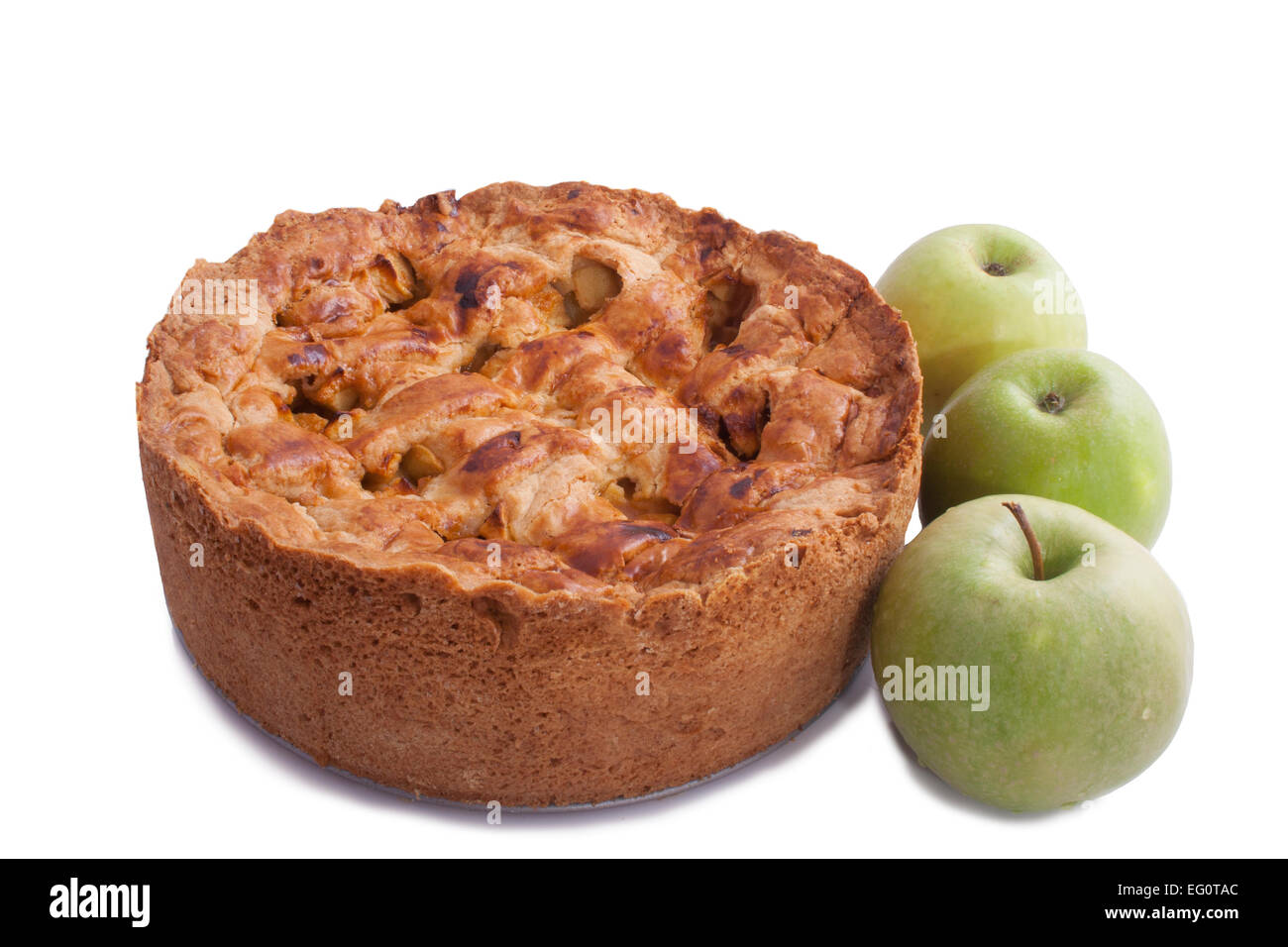 Home made apple pie isolated on a white background - Stock Image
