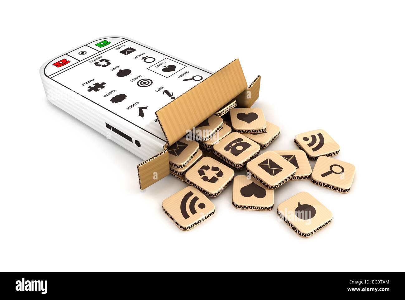 3d smartphone cardboard box with cloud of application icons, isolated white background, 3d image Stock Photo