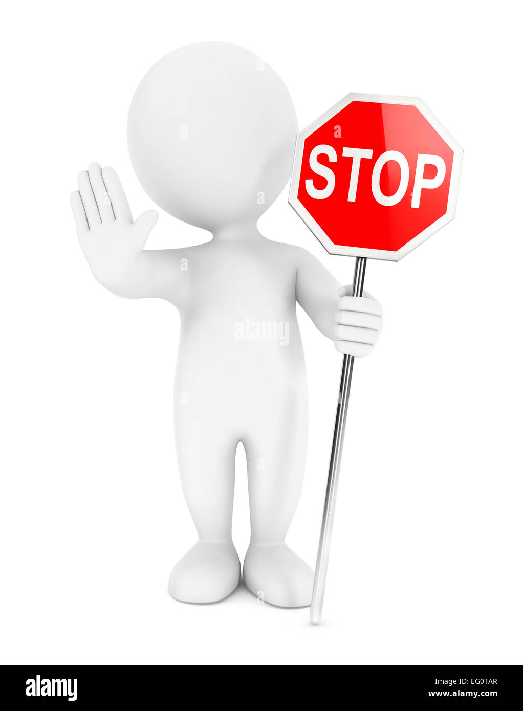 3d white people stop sign, isolated white background, 3d image Stock Photo