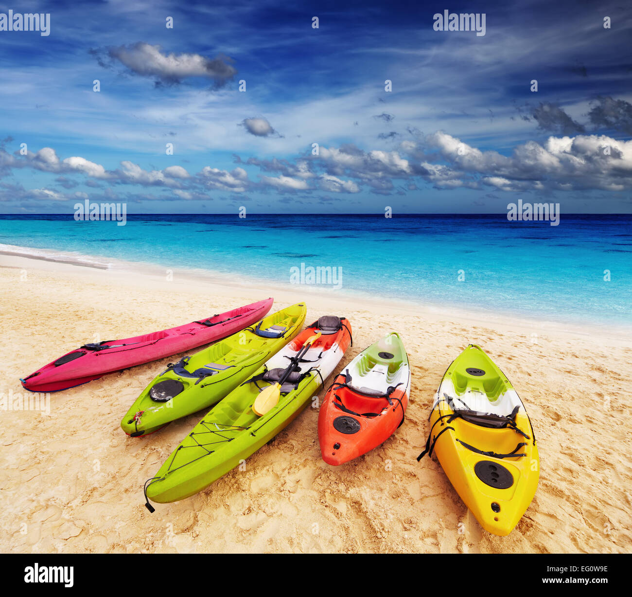 Colorful kayaks on the tropical beach, Thailand - Stock Image