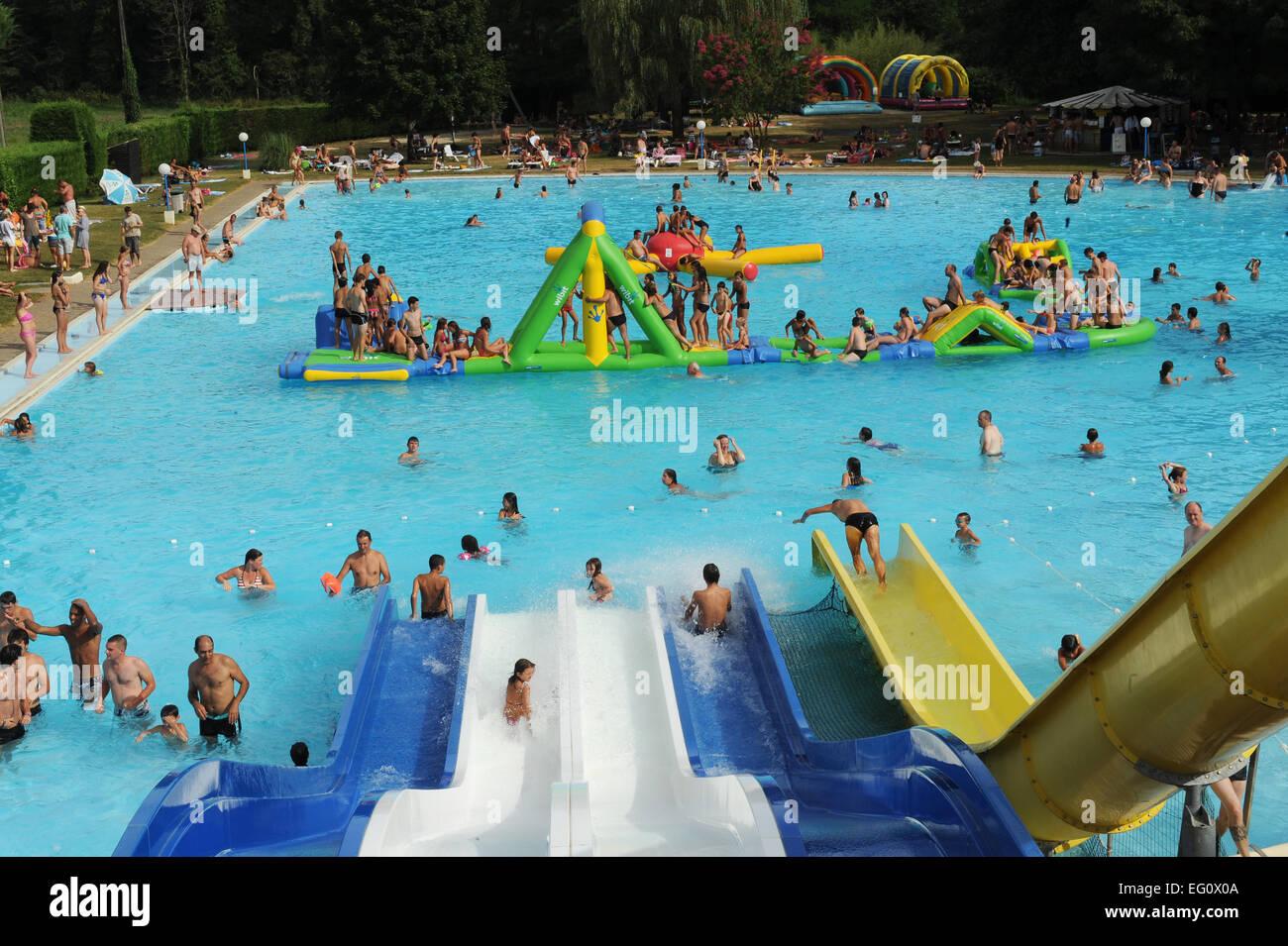 Aqua park in the Lot region of France. Stock Photo
