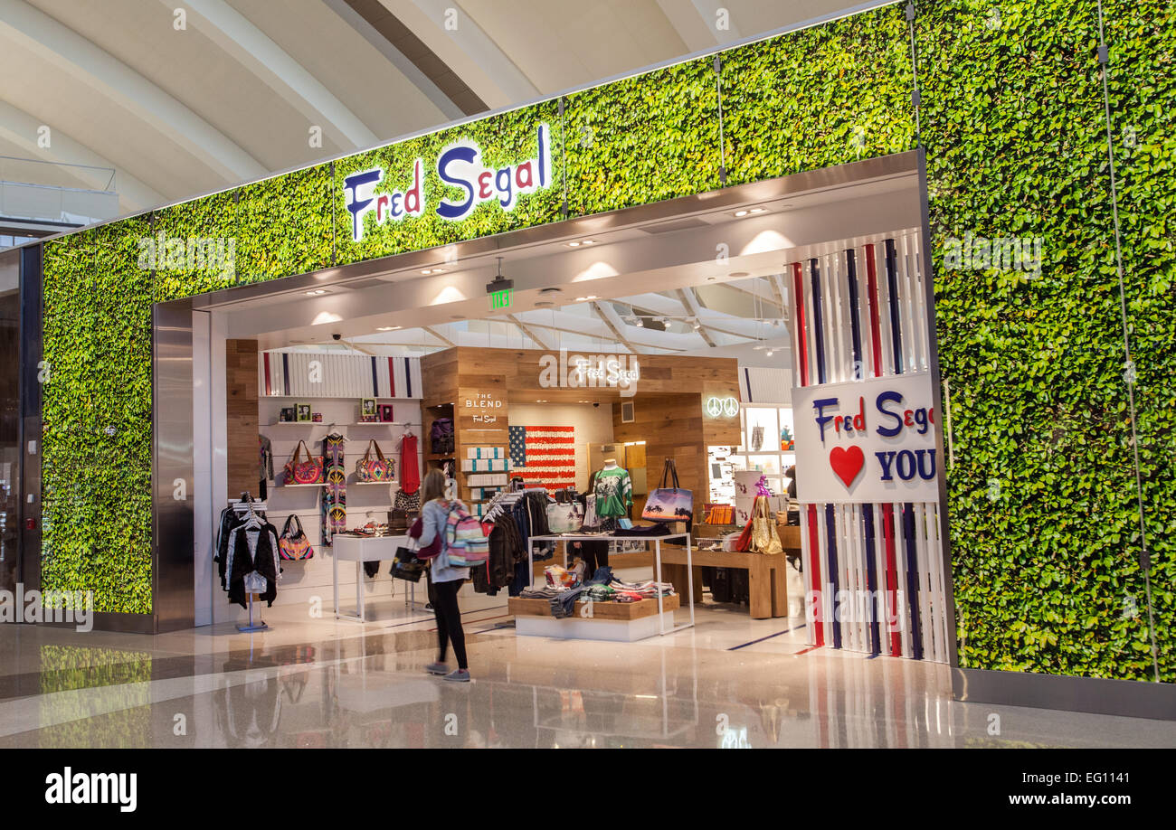 The Fred Segal store inside the Tom Bradley International Terminal at LAX. - Stock Image
