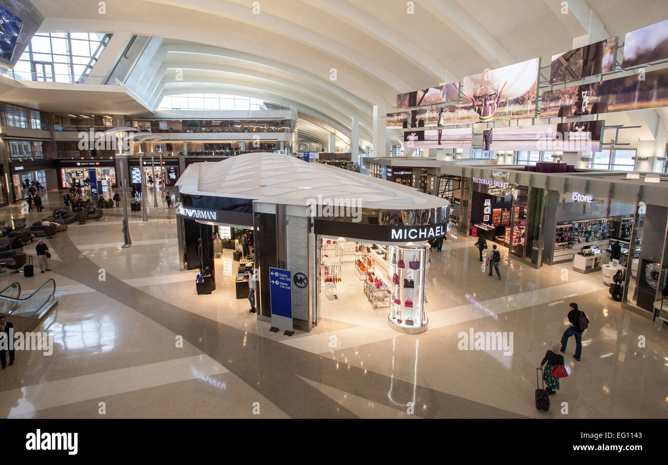 General view of the inside of the Tom Bradley International Terminal at LAX. - Stock Image