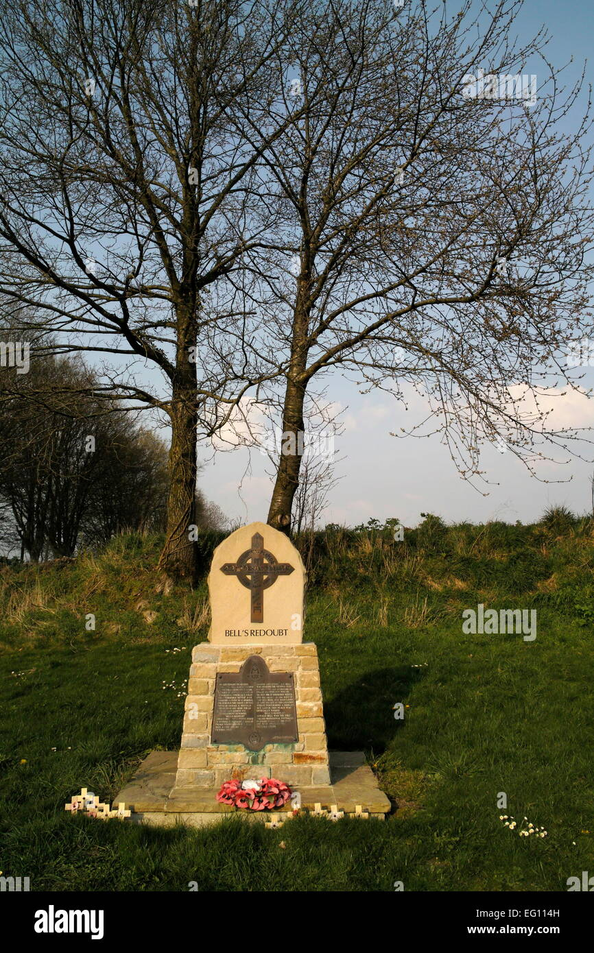 AJAXNETPHOTO. CONTALMAISON (NEAR), SOMME, FRANCE. - WAR MEMORIAL - BELL'S REDOUBT, IN MEMORY OF 2ND LT., DONALD - Stock Image