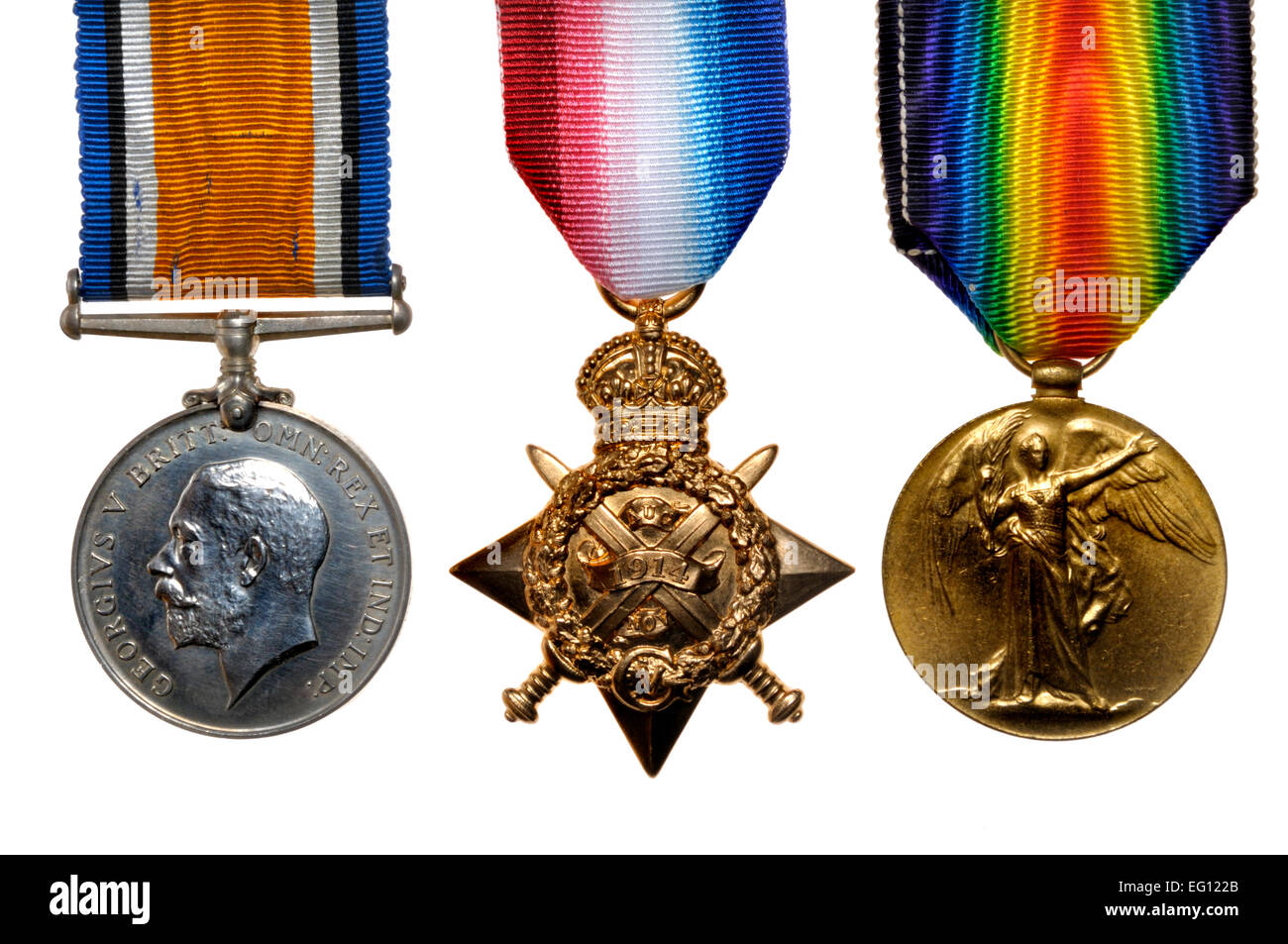 First World War medals: 'Pip, Squeak and Wilfred' British War Medal; 1914 Star; Victory Medal (left to right) - Stock Image