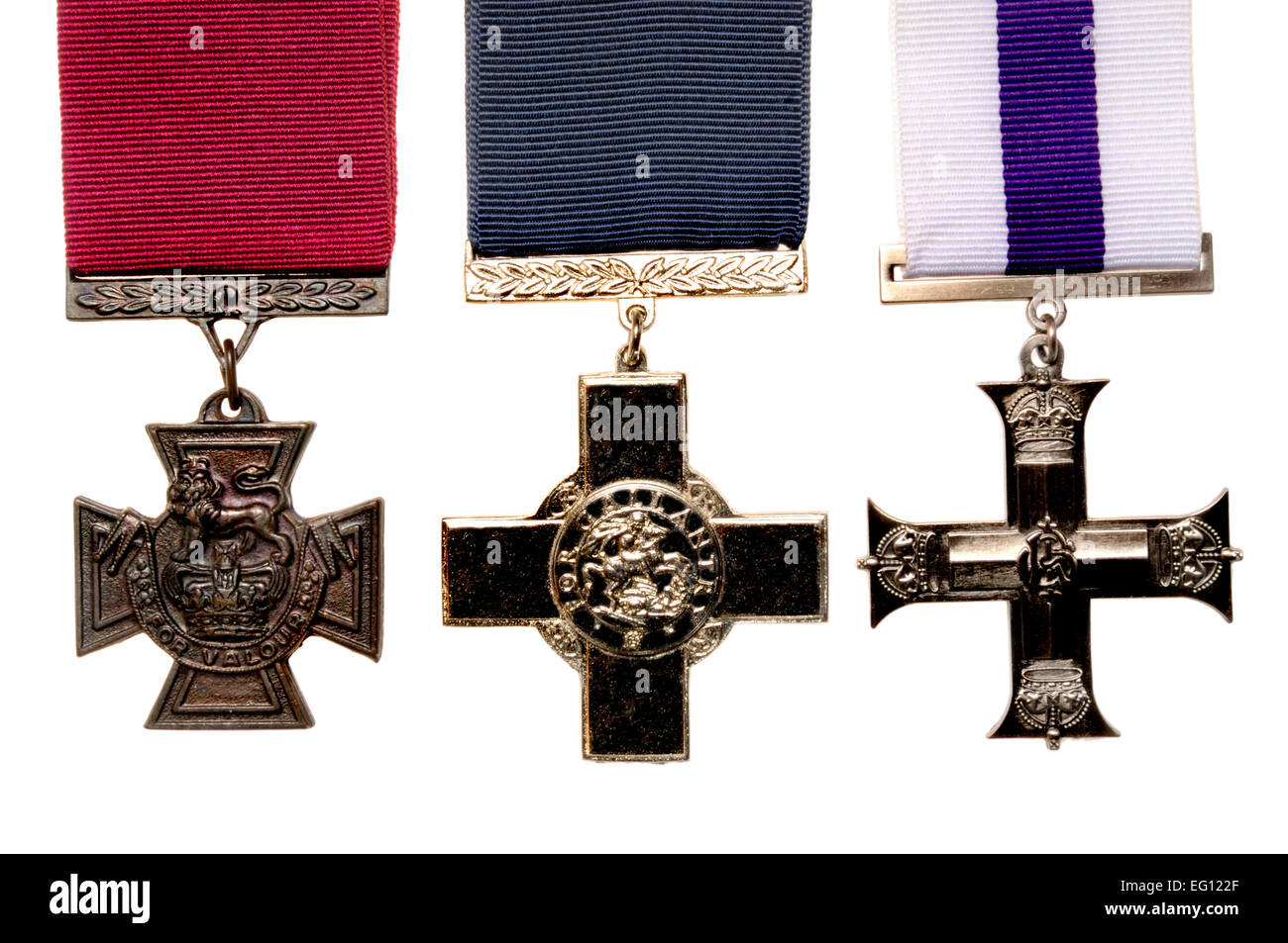 Victoria Cross, George Cross; Military Cross. British awards for gallantry - Stock Image