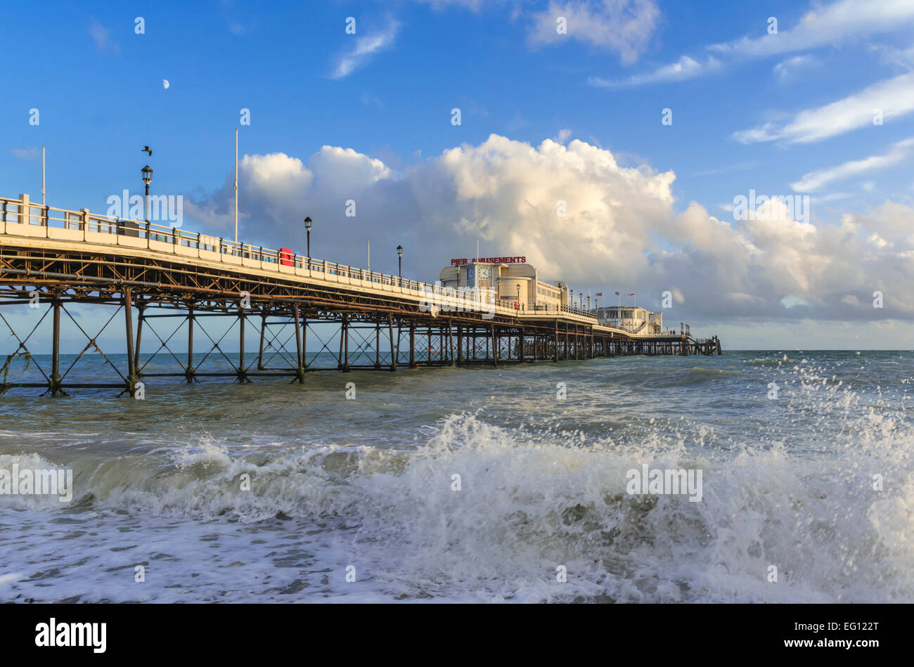 Worthing Pier in evening light in Worthing, West Sussex, England, UK. Stock Photo