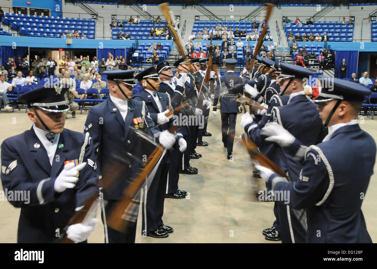 The U.S Air Force Drill Team Performs at Hampton University to begin Air Force Week in Hampton Virginia April 18, - Stock Image