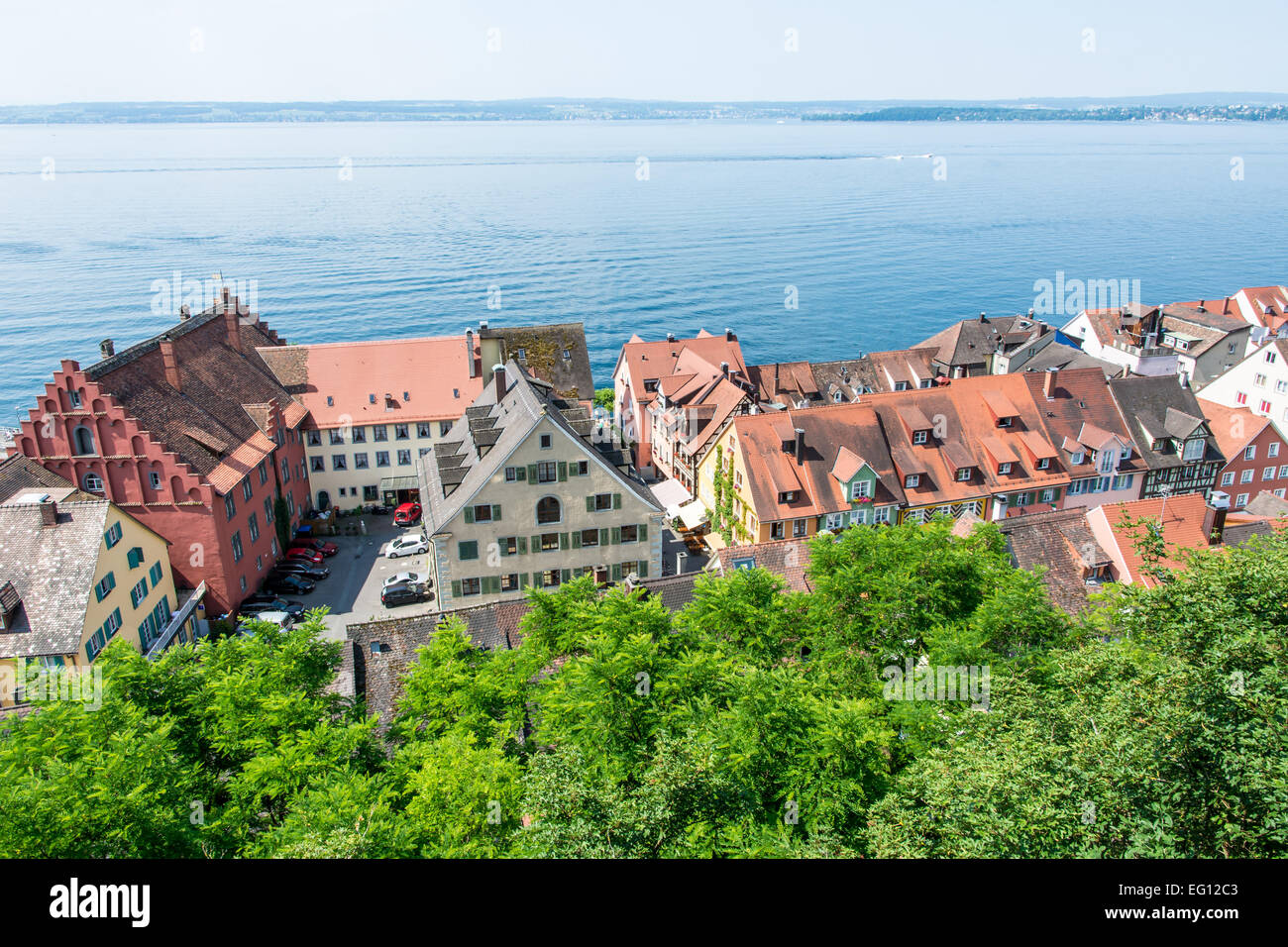 View over the city of Meersburg at the Bodensee (lake constance) in Germany Stock Photo