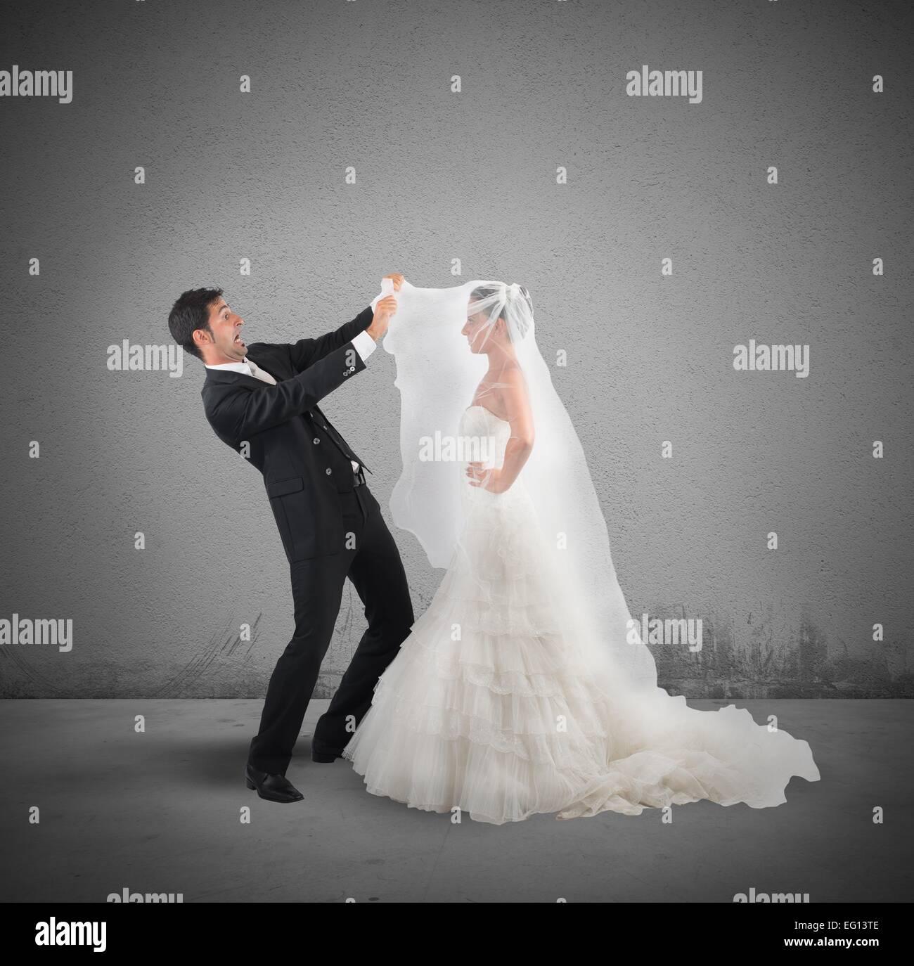 Amazed husband - Stock Image