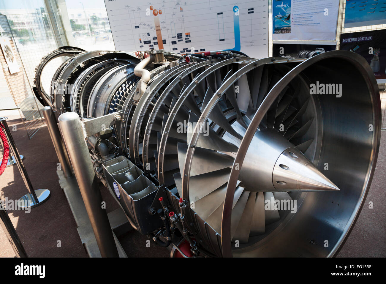Display section of  SNECMA M53 afterburning turbofan engine developed for the Dassault Mirage 2000 fighter - Stock Image