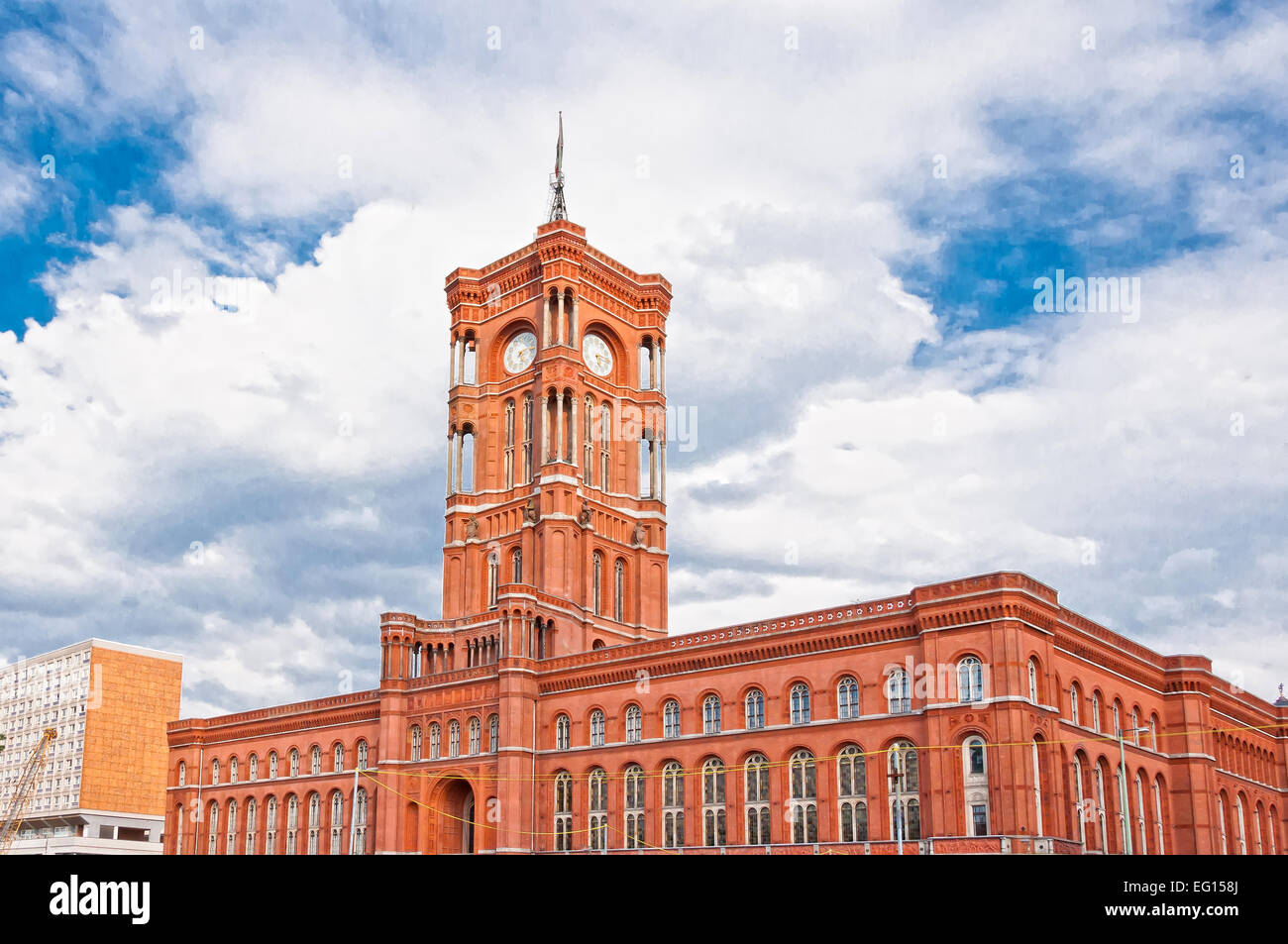exterior of the Rotes Rathaus in Alexanderplatz, Berlin, Germany - Stock Image