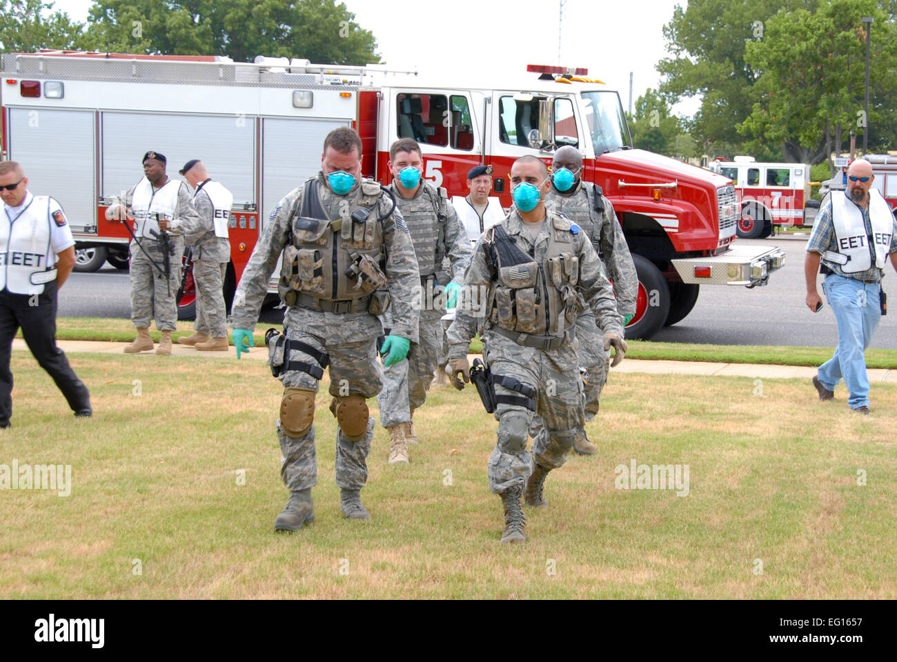 Personnel from the 42nd Air Base Wing's security forces squadron, fire department, flight medical response team - Stock Image