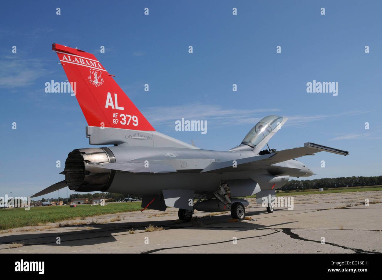 An F-16 sporting a new coat of paint is fresh, at the Air