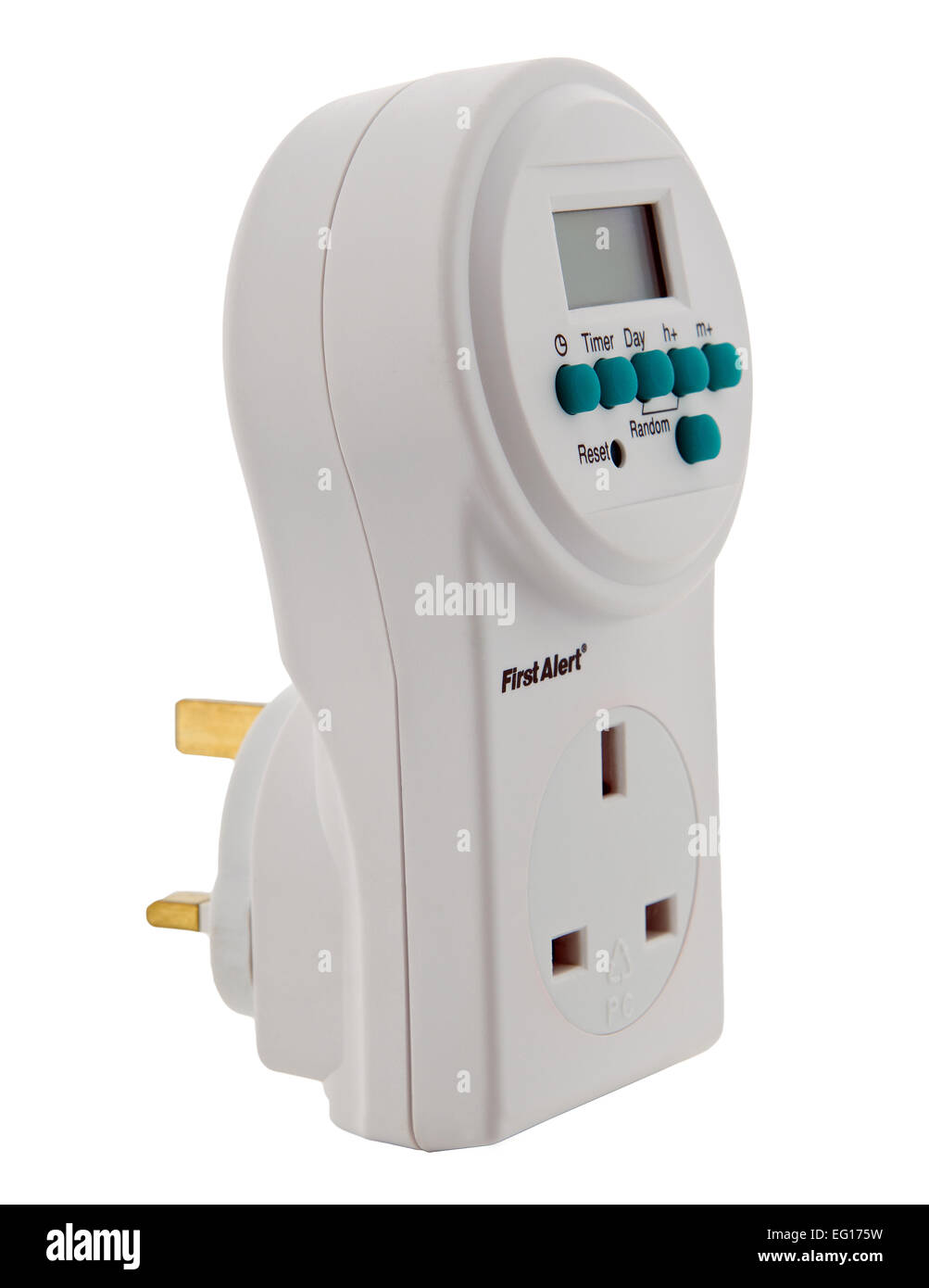 digital electrical wall socket timer on white background - Stock Image