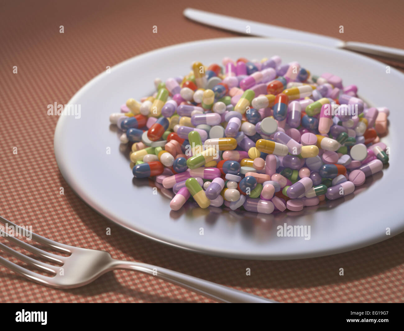 Dish full of medicines and supplements instead of food. - Stock Image