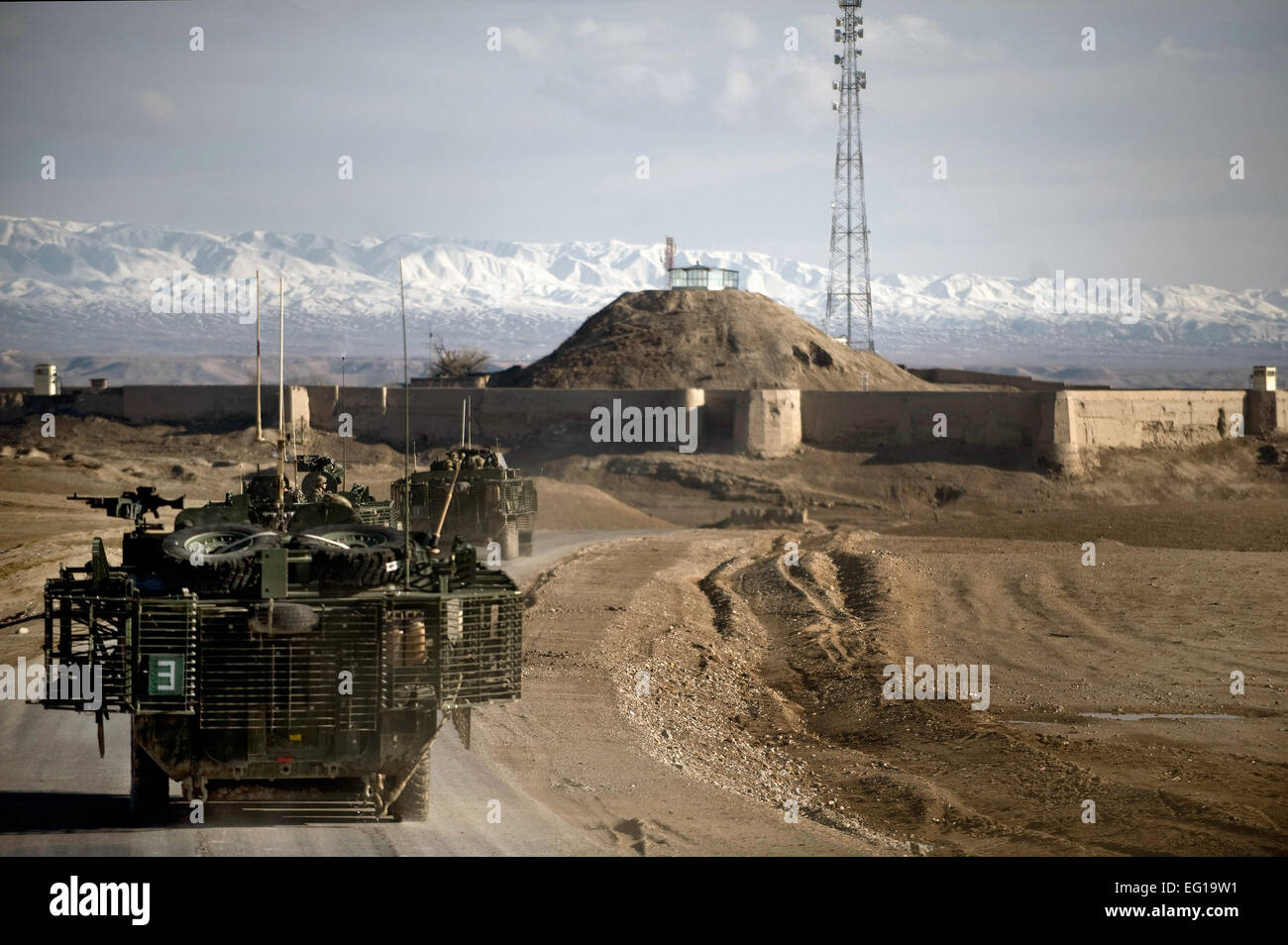 Members of a U.S. Army task force depart a dirt landing zone after securing the surrounding area in the Zabul province Stock Photo