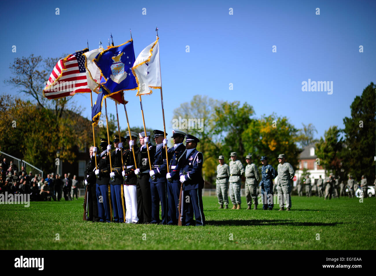 A color guard presents the colors during the U.S. Transportation Command change of command ceremony at Scott Air Stock Photo
