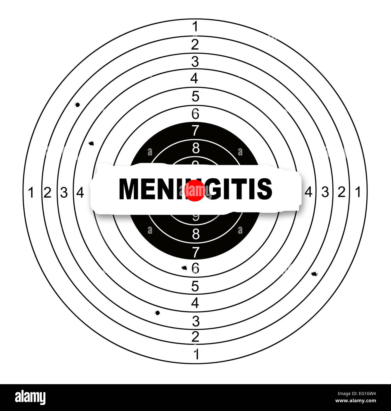 Shooting target with word meningitis made in 2d software - Stock Image