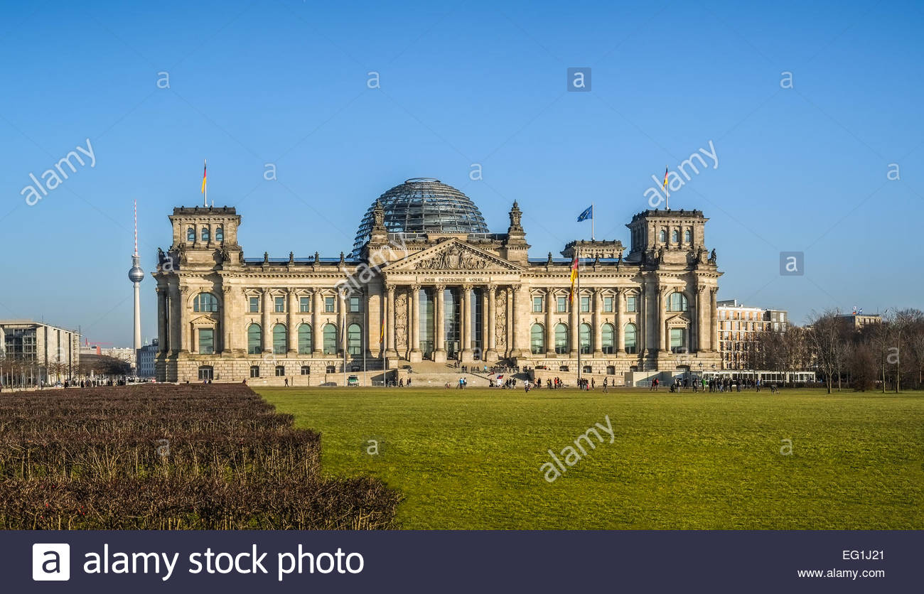 Reichstag building with TV tower in background Berlin, Germany - Stock Image