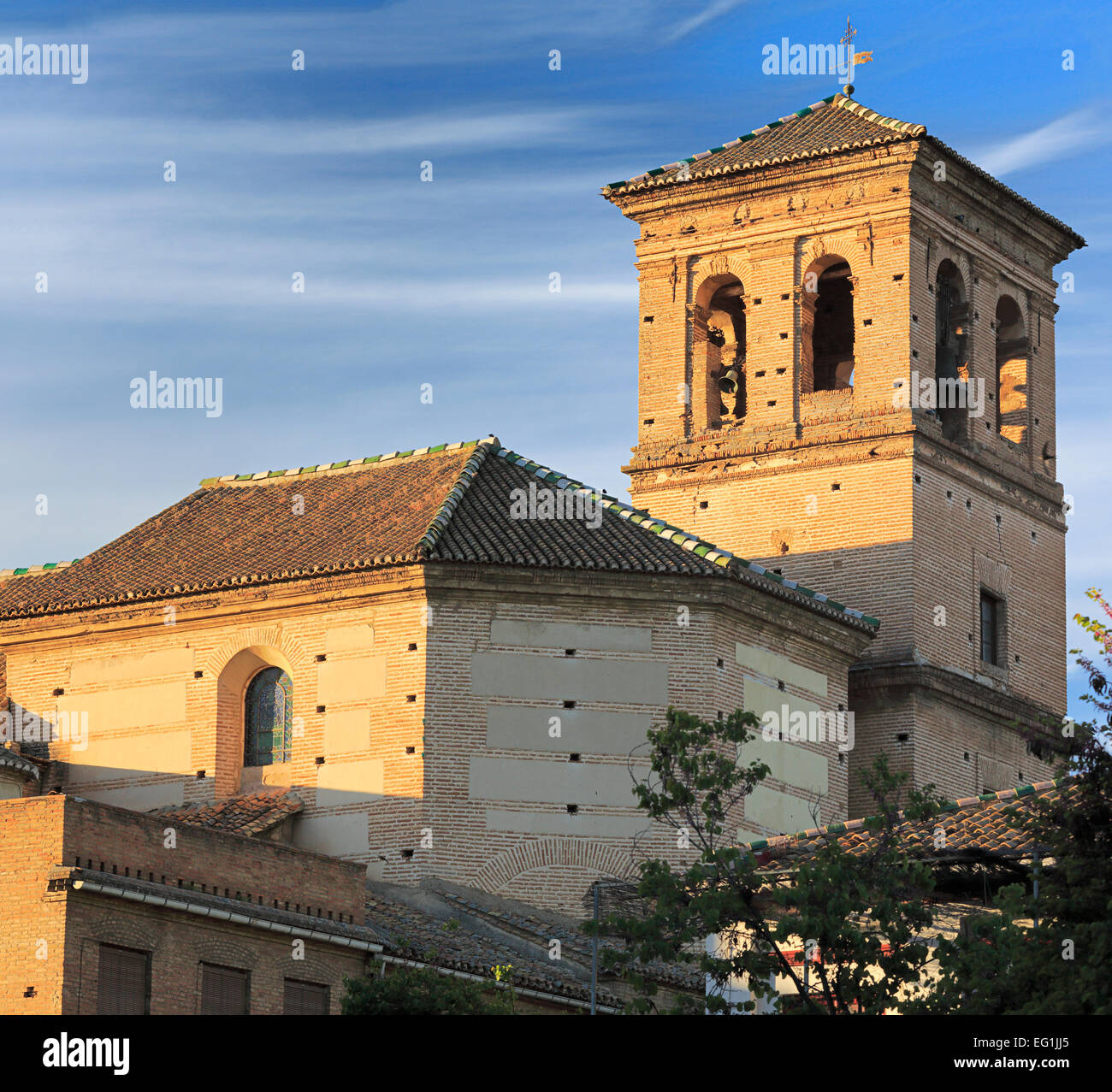 Belltower of Colegiata del Salvador Albayzin church, Granada, Andalusia, Spain - Stock Image