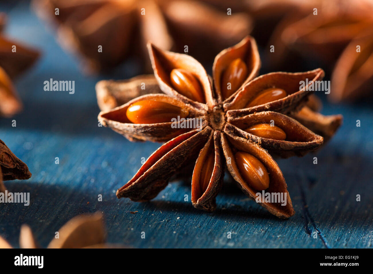 Organic Dry Star of Anise on a Background - Stock Image