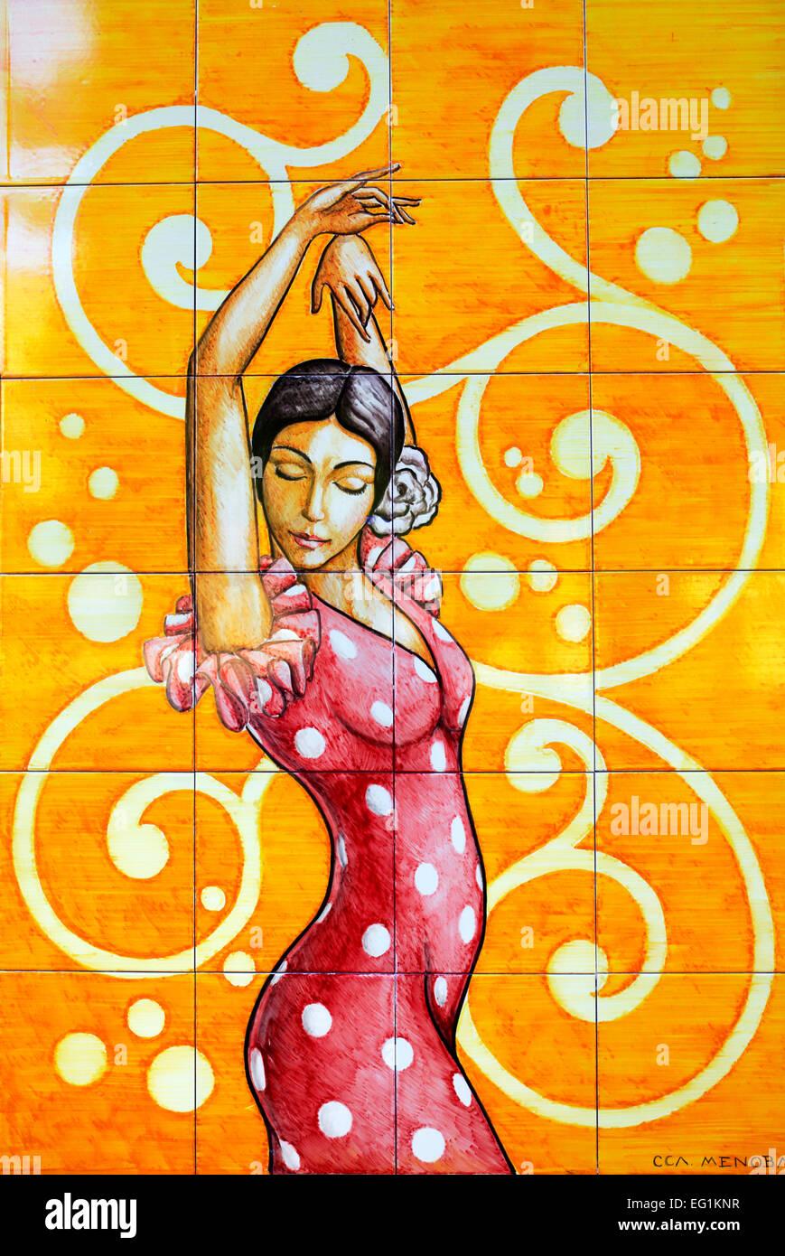 Flamenco dancer, azulejo, Seville, Andalusia, Spain - Stock Image