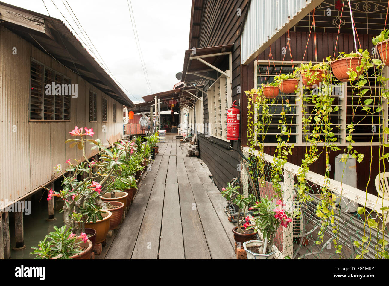 Chew Jetty (aka Seh Chew Keo), a historic waterfront settlement in George Town, Penang, Malaysia. - Stock Image