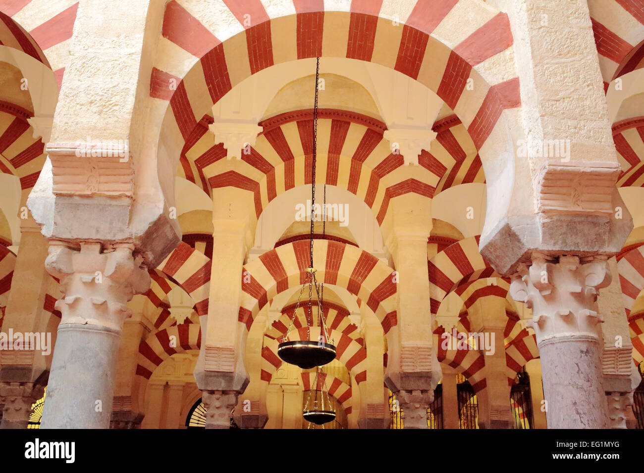 Prayer hall interior, Cathedral (Mezquita), Cordoba, Andalusia, Spain - Stock Image