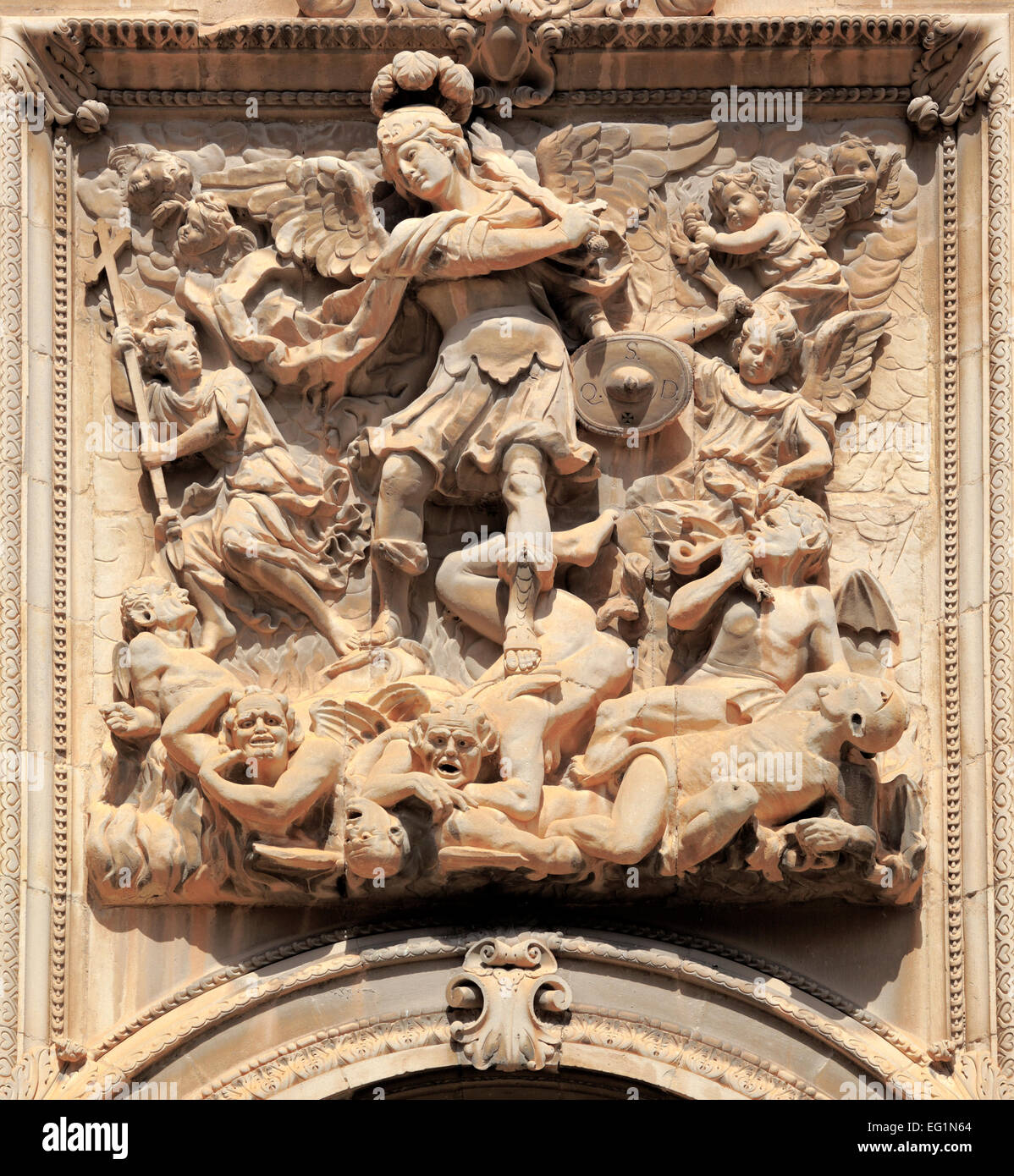 Archangel Michael, Sculptural relief, Cathedral, Jaen, Andalusia, Spain - Stock Image