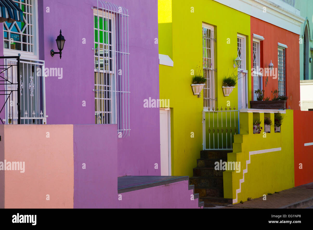 Colourful houses, Bo-Kaap, Malay Quarter Cape Town, South Africa, Africa - Stock Image