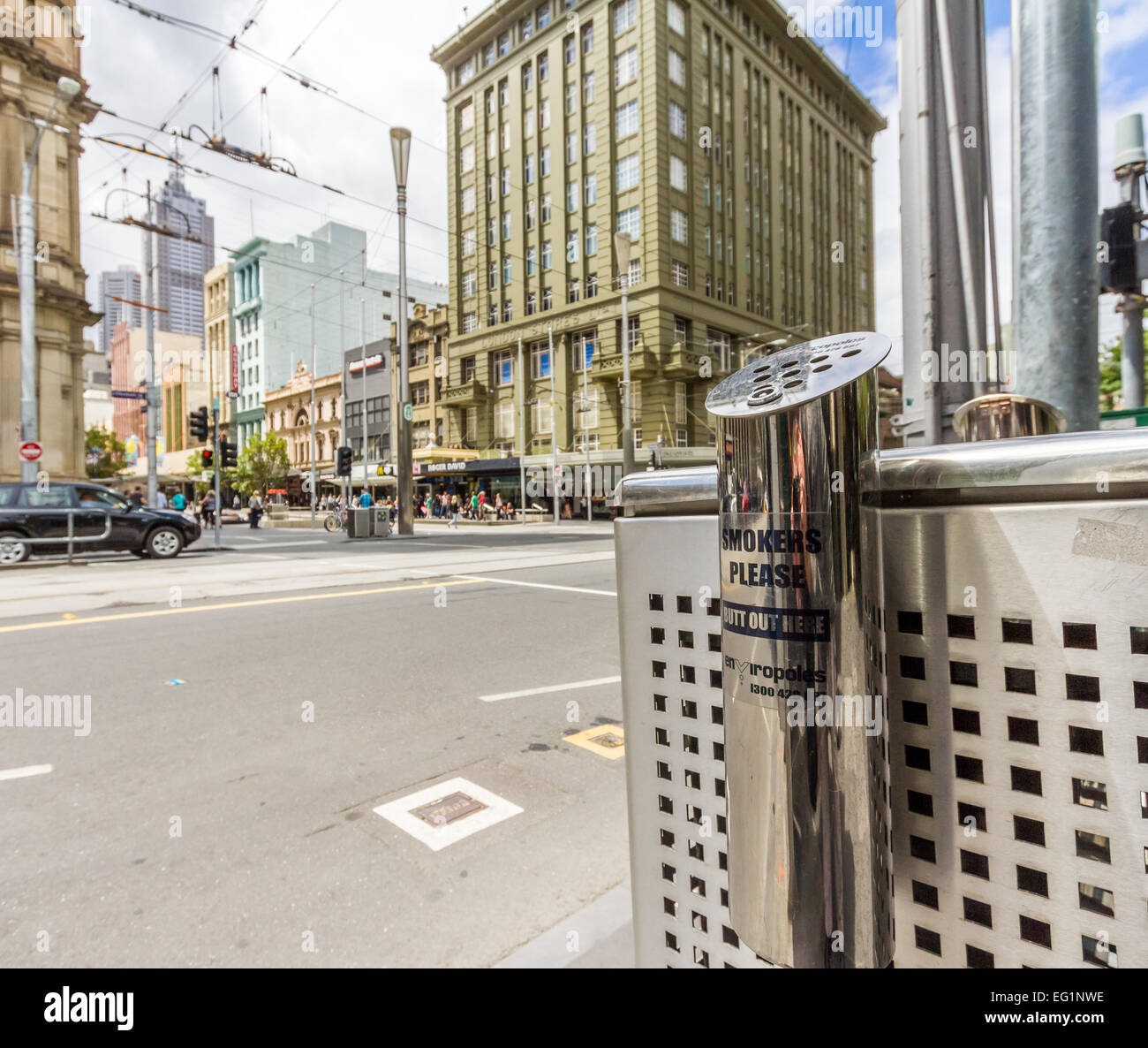 Smoking receptacle in Melbourne. - Stock Image