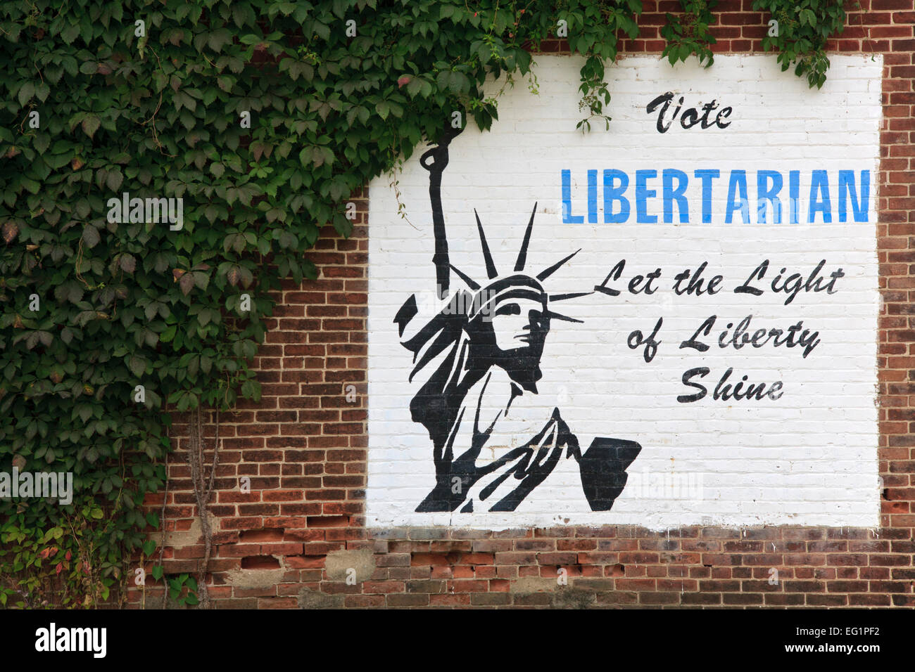 Sign promoting the LIbertarian political party in the United States. - Stock Image