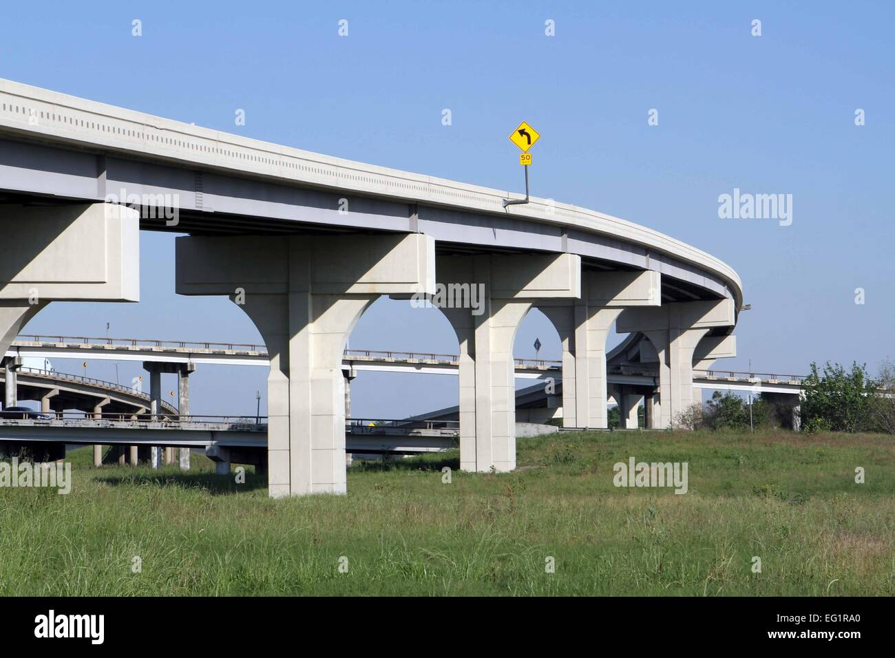 ROADS AND OVERPASSES IN THE CITY OF HOUSTON, TEXAS, USA - Stock Image