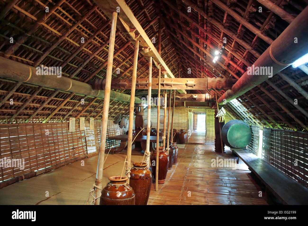 Bahnar (Ba Na) ethnic house, Ethnography museum, Hanoi, Vietnam - Stock Image