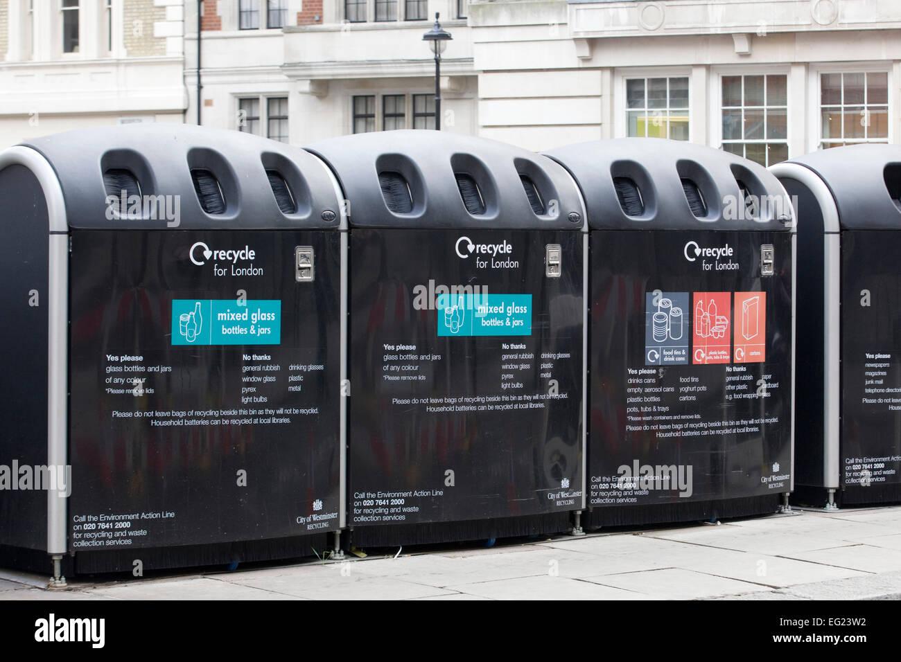 Keep Britain tidy recycling bins London - Stock Image